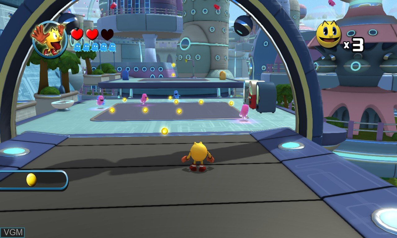 In-game screen of the game Pac-Man and the Ghostly Adventures on Microsoft Xbox 360