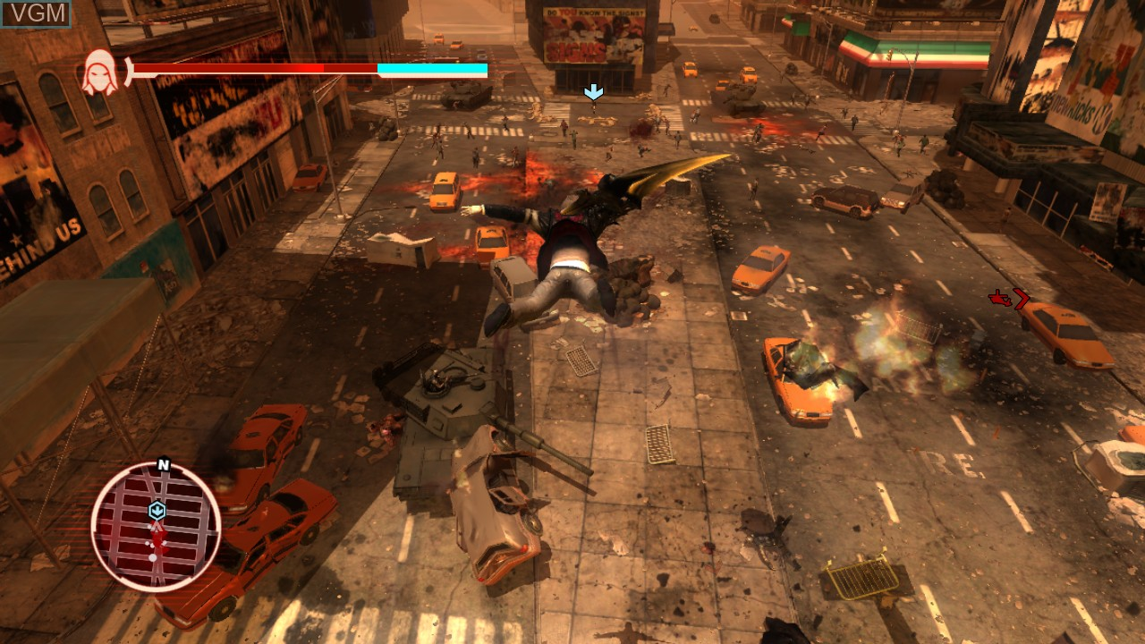 In-game screen of the game Prototype on Microsoft Xbox 360