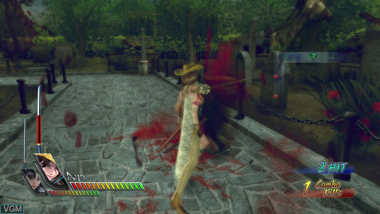 In-game screen of the game Onechanbara - Bikini Samurai Squad on Microsoft Xbox 360