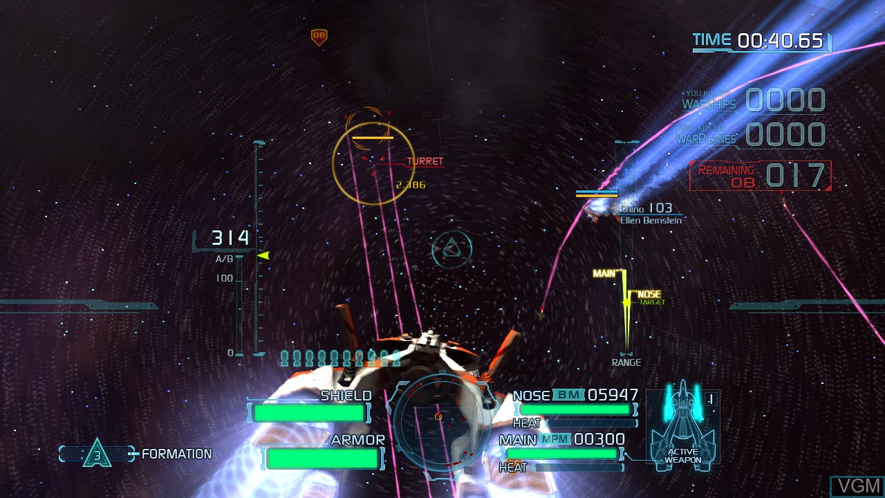 In-game screen of the game Project Sylpheed on Microsoft Xbox 360
