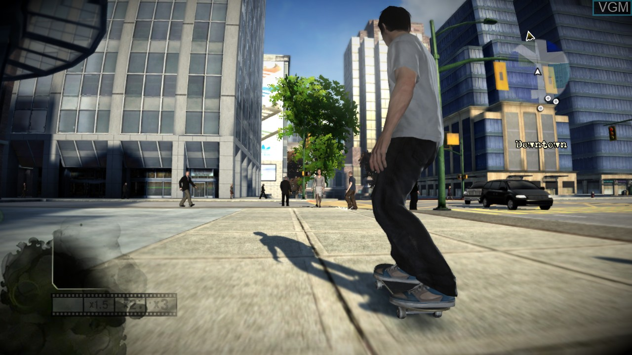 In-game screen of the game Skate on Microsoft Xbox 360
