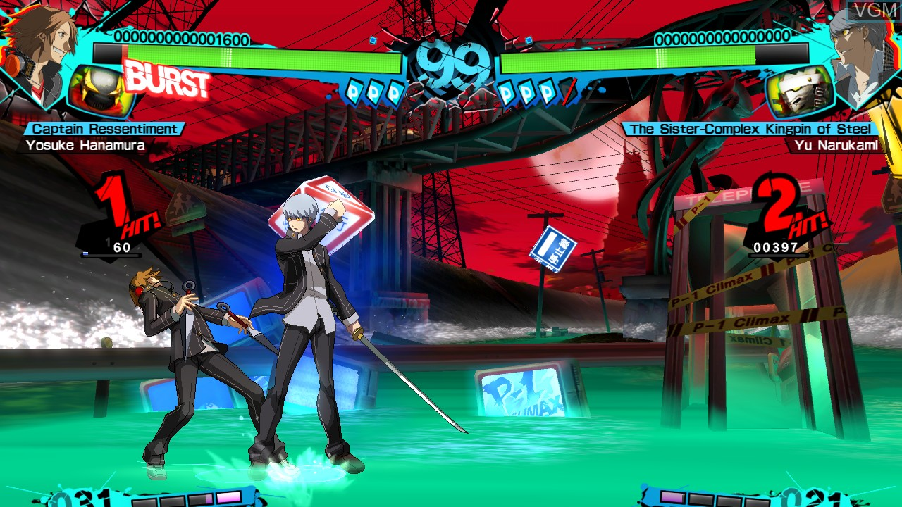 In-game screen of the game Persona 4 Arena on Microsoft Xbox 360