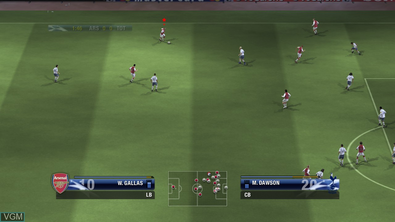 In-game screen of the game UEFA Champions League 2006-2007 on Microsoft Xbox 360