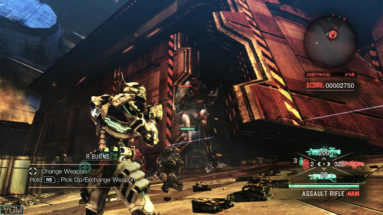 In-game screen of the game Vanquish on Microsoft Xbox 360
