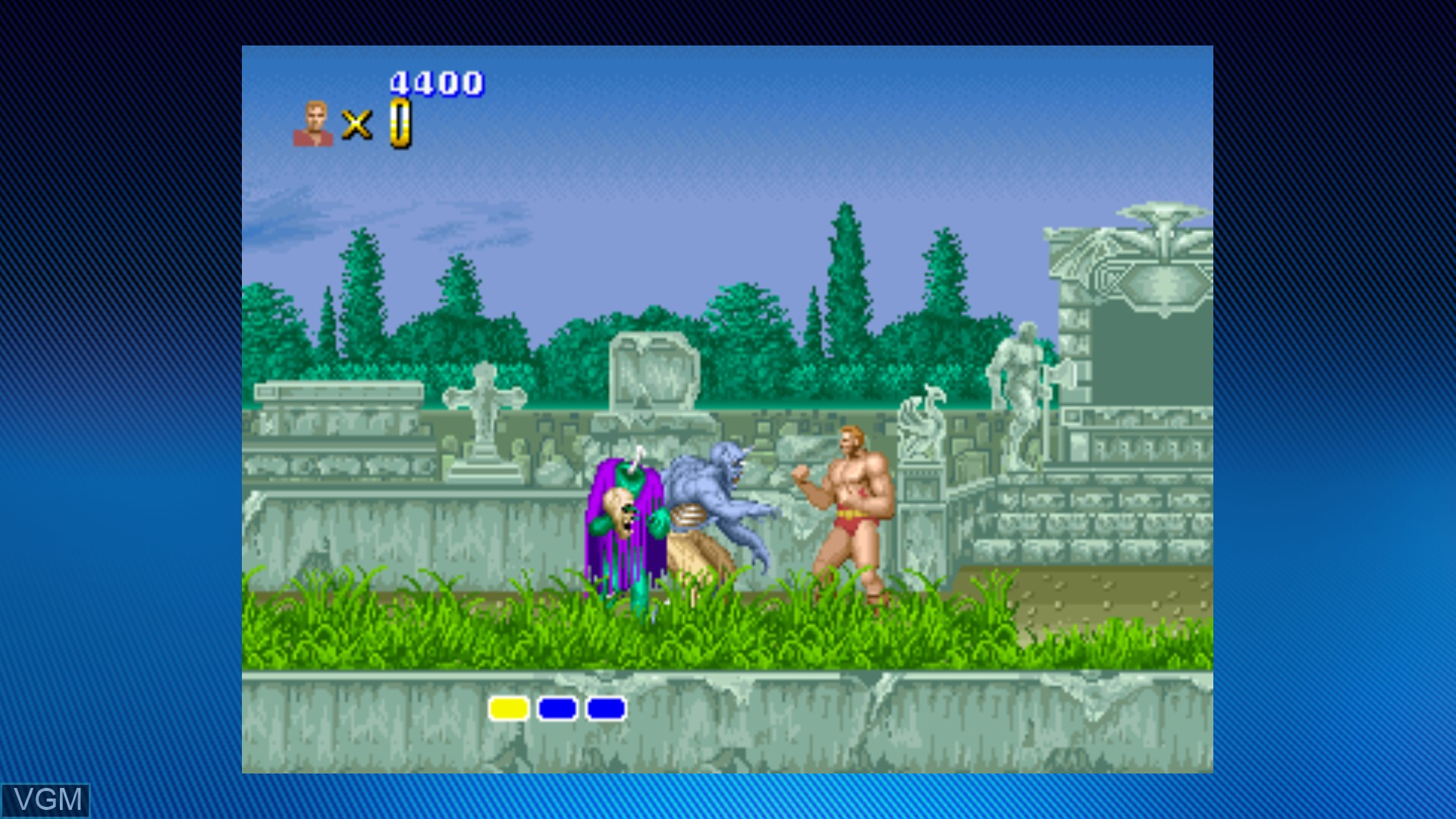 In-game screen of the game Altered Beast on Microsoft Xbox 360