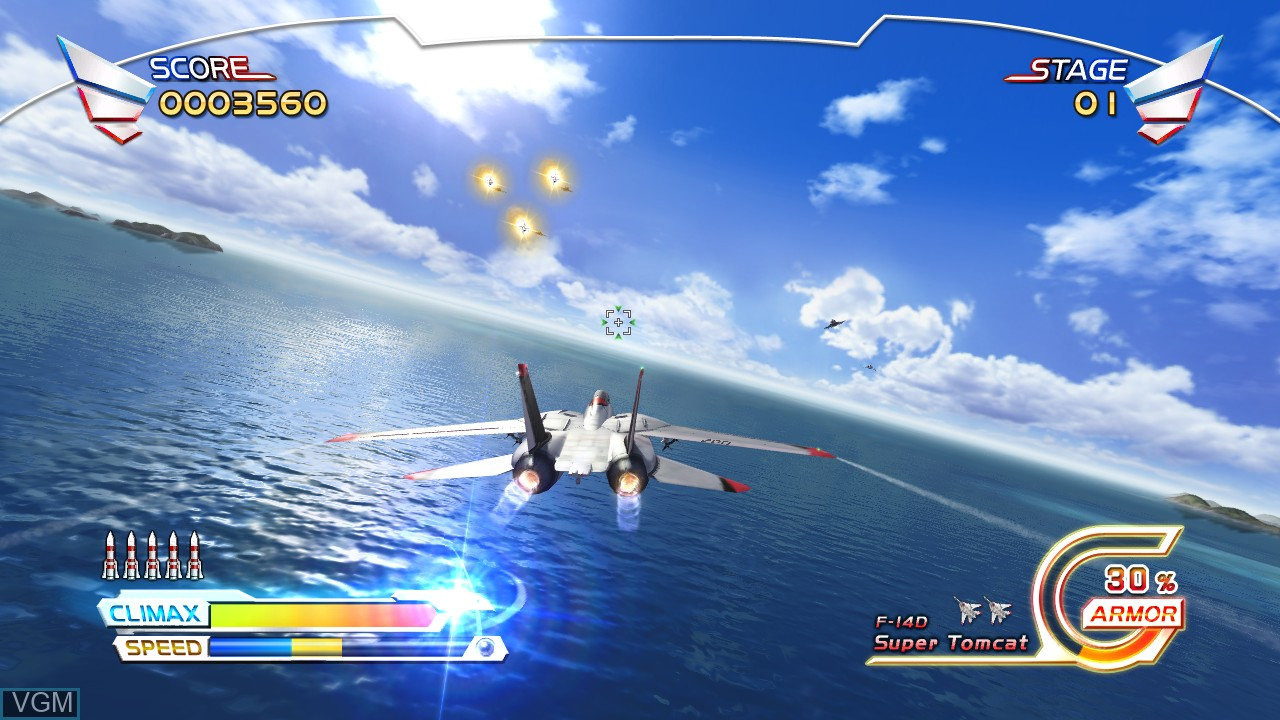 In-game screen of the game After Burner Climax on Microsoft Xbox 360