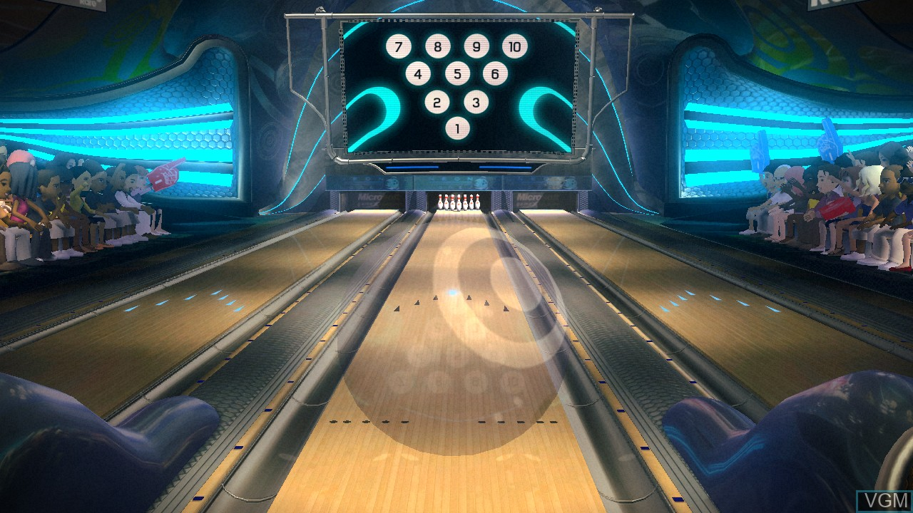 In-game screen of the game Kinect Sports - 10 Frame Bowling on Microsoft Xbox 360