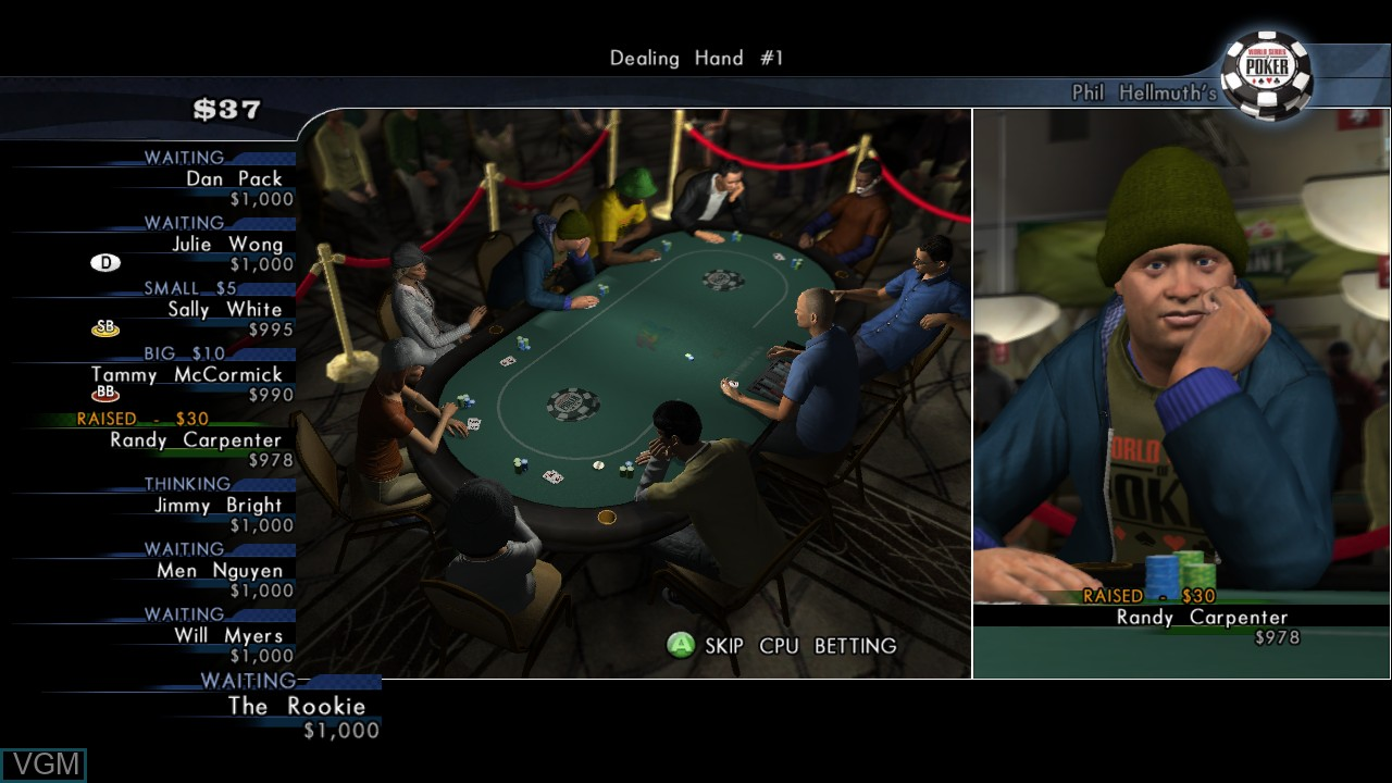 In-game screen of the game World Series of Poker 2008 - Battle for the Bracelets on Microsoft Xbox 360
