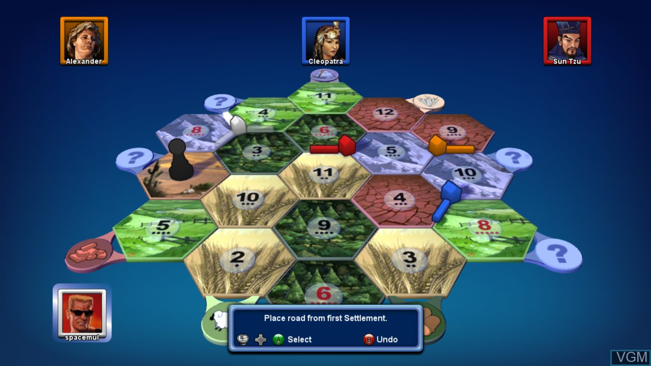 In-game screen of the game Catan on Microsoft Xbox 360