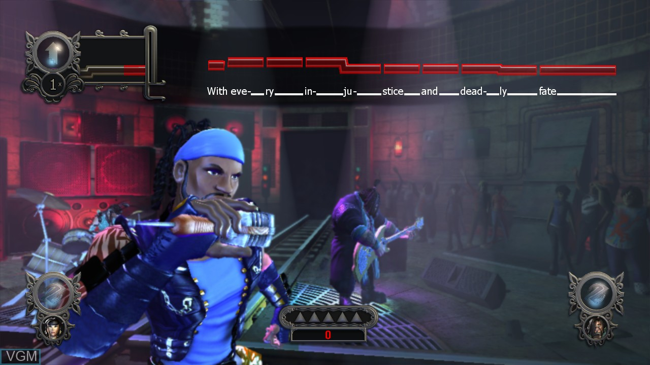 In-game screen of the game Power Gig - Rise of the SixString on Microsoft Xbox 360