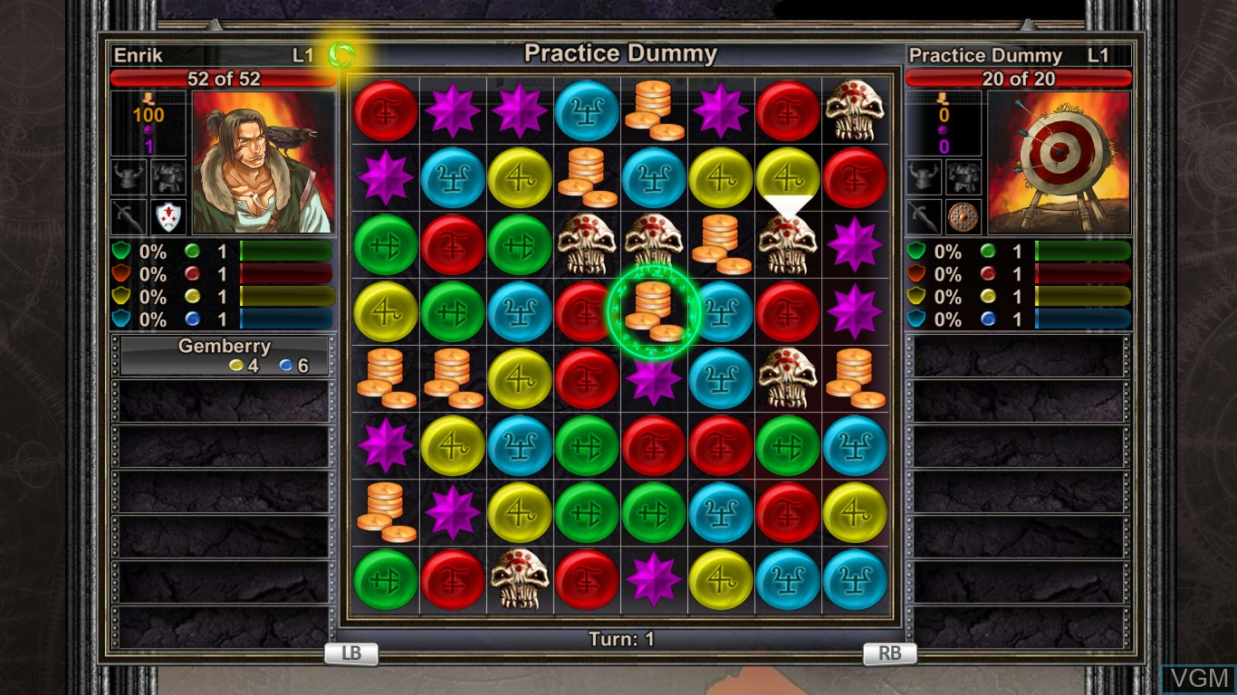 In-game screen of the game Puzzle Quest - Challenge of the Warlords on Microsoft Xbox 360