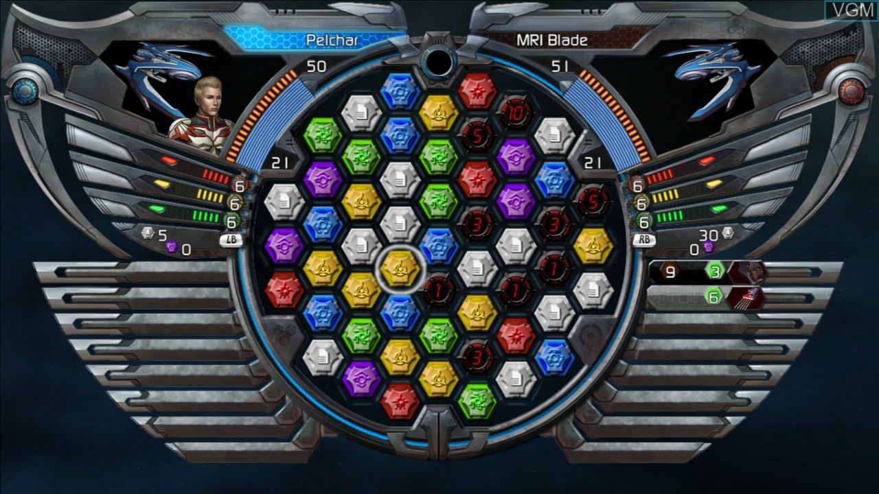 In-game screen of the game Puzzle Quest - Galactrix on Microsoft Xbox 360
