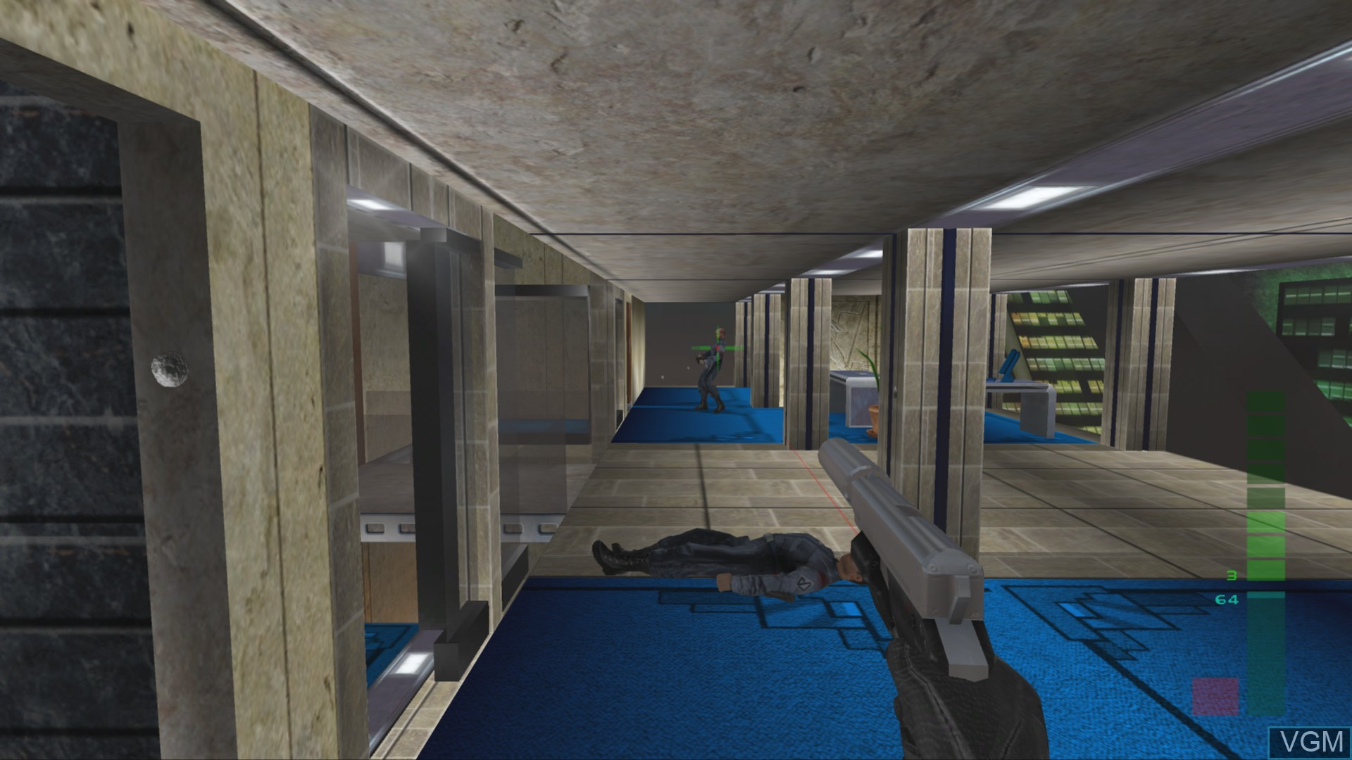 In-game screen of the game Perfect Dark on Microsoft Xbox 360