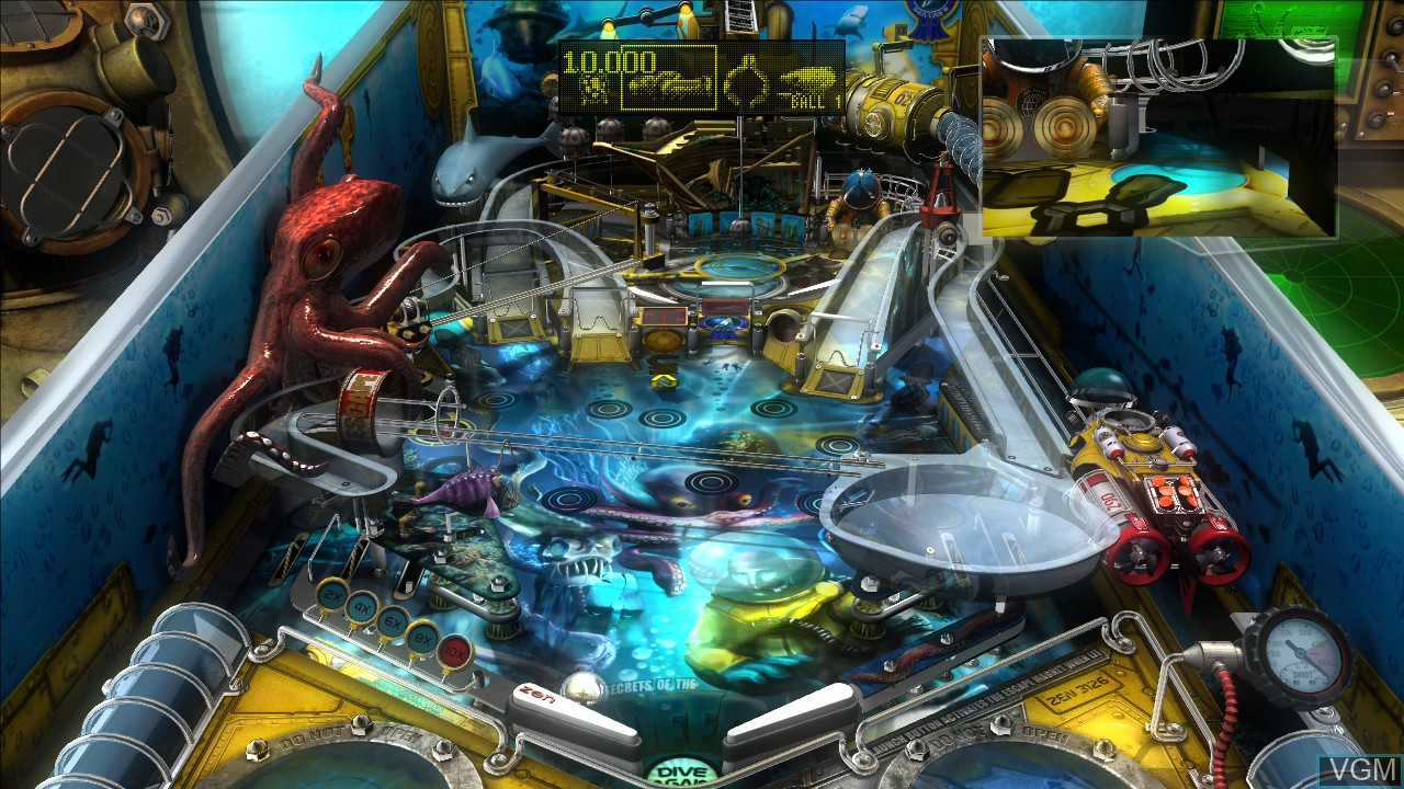 In-game screen of the game Pinball FX on Microsoft Xbox 360