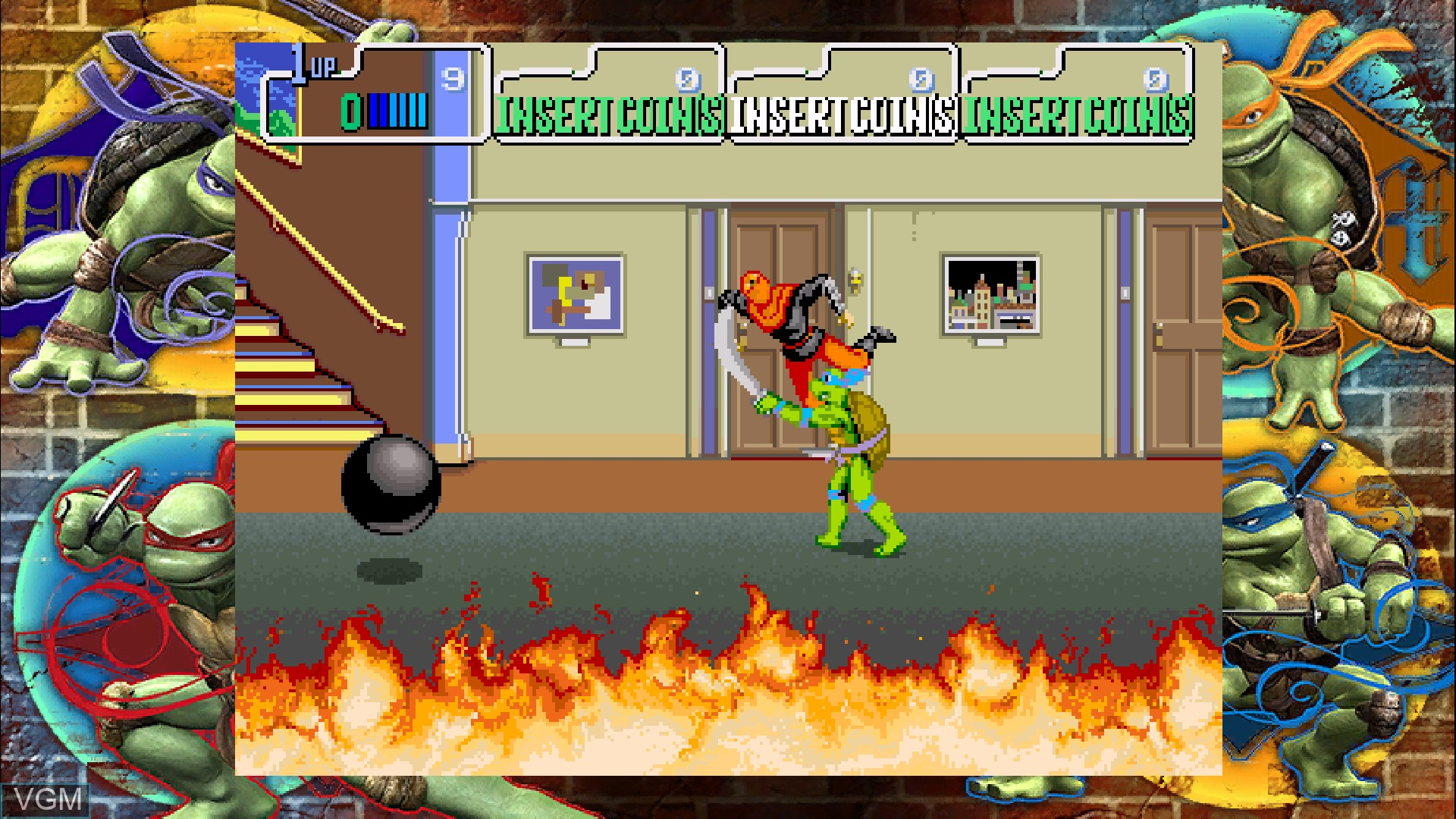 In-game screen of the game Teenage Mutant Ninja Turtles - 1989 Classic Arcade on Microsoft Xbox 360