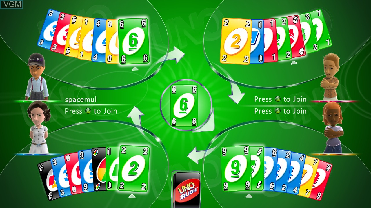 In-game screen of the game Uno Rush on Microsoft Xbox 360