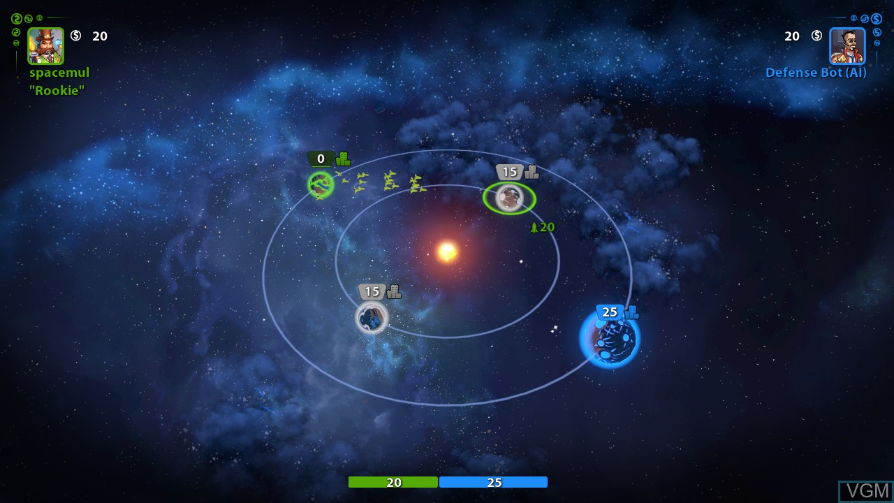 In-game screen of the game Planets Under Attack on Microsoft Xbox 360