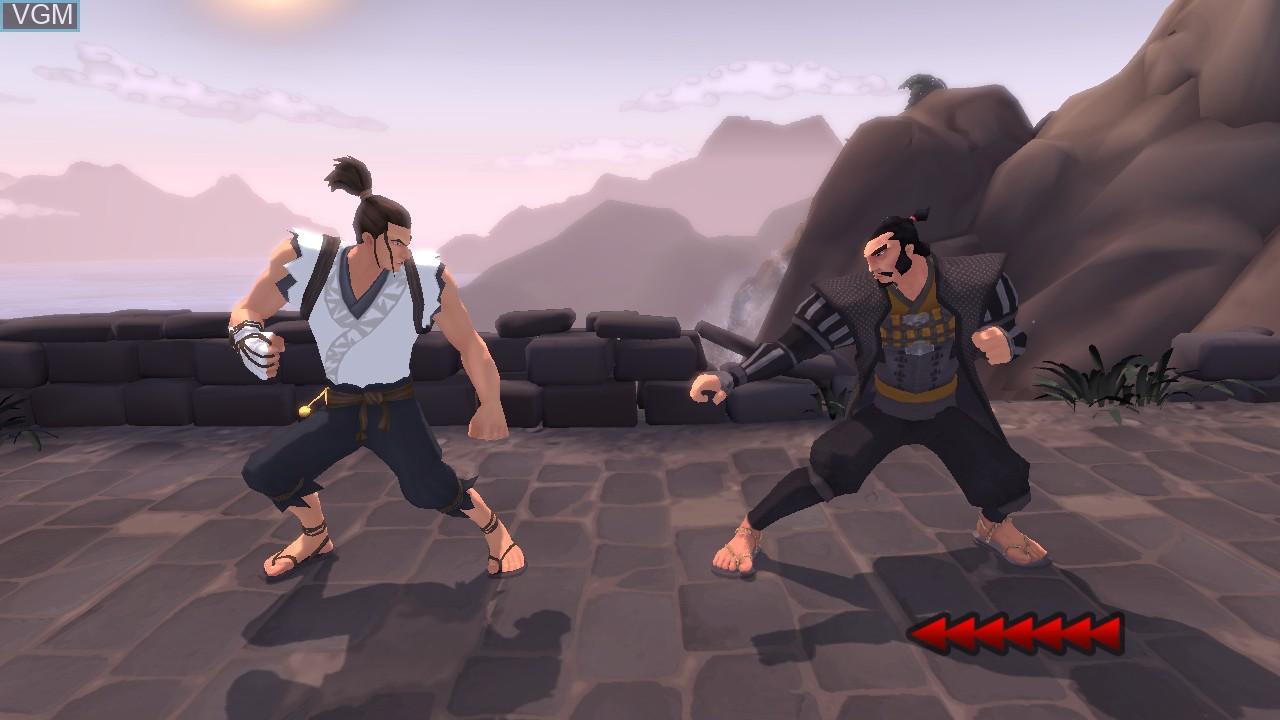In-game screen of the game Karateka on Microsoft Xbox 360