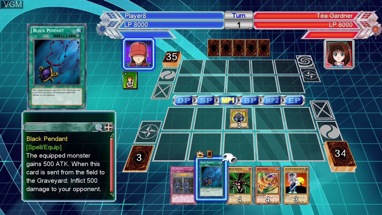 In-game screen of the game Yu-Gi-Oh! Millennium Duels on Microsoft Xbox 360