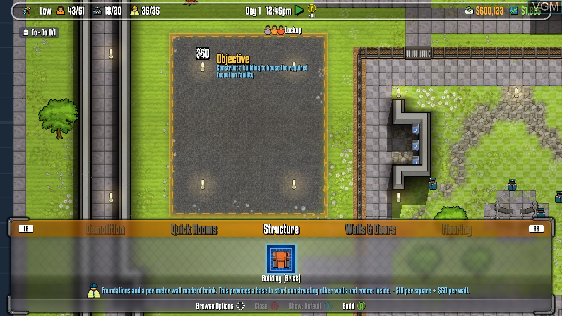 In-game screen of the game Prison Architect on Microsoft Xbox 360