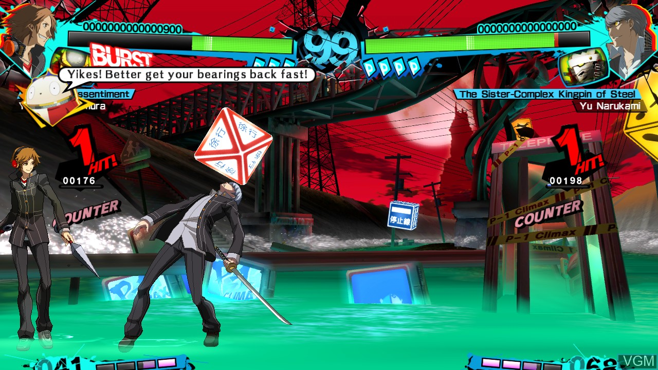 In-game screen of the game Persona 4 Arena Ultimax on Microsoft Xbox 360