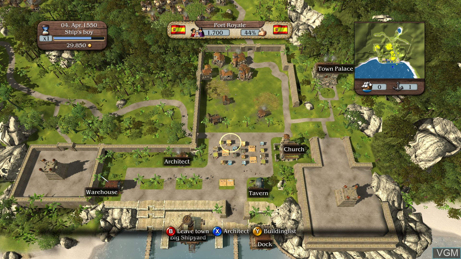 In-game screen of the game Port Royale 3 - Pirates and Merchants on Microsoft Xbox 360