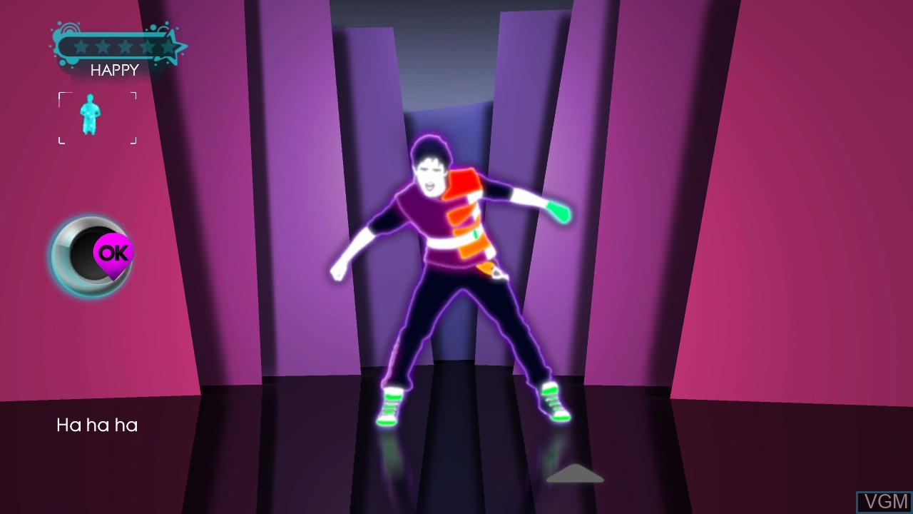 In-game screen of the game Just Dance 3 on Microsoft Xbox 360