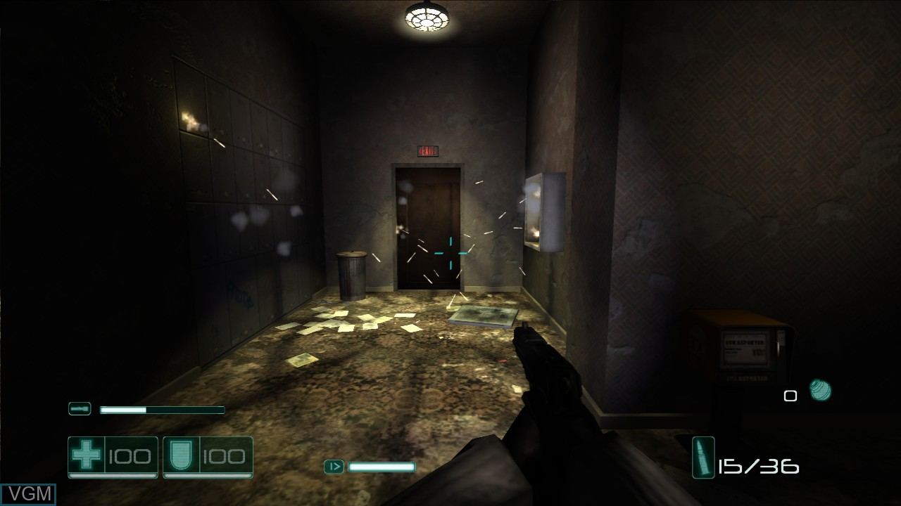 In-game screen of the game F.E.A.R. Files on Microsoft Xbox 360