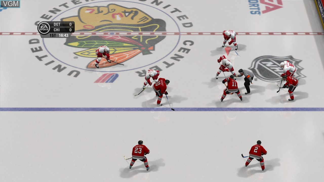 In-game screen of the game NHL 07 on Microsoft Xbox 360