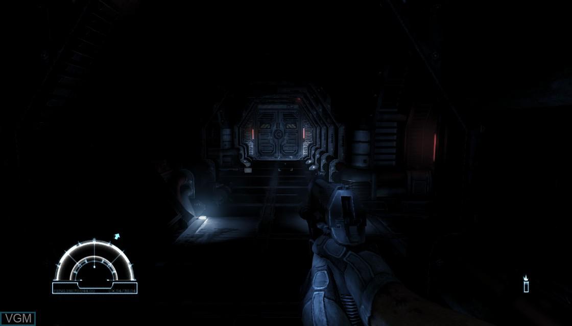 In-game screen of the game Aliens vs. Predator on Microsoft Xbox 360