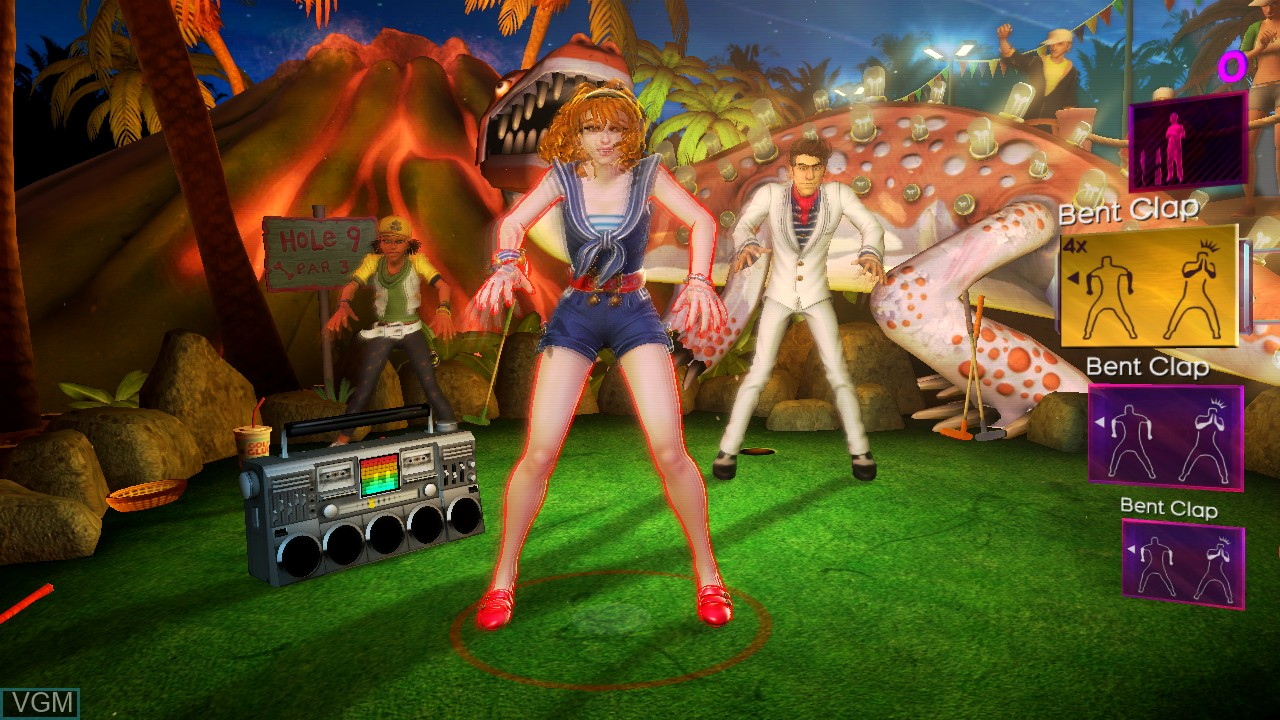In-game screen of the game Dance Central 2 on Microsoft Xbox 360