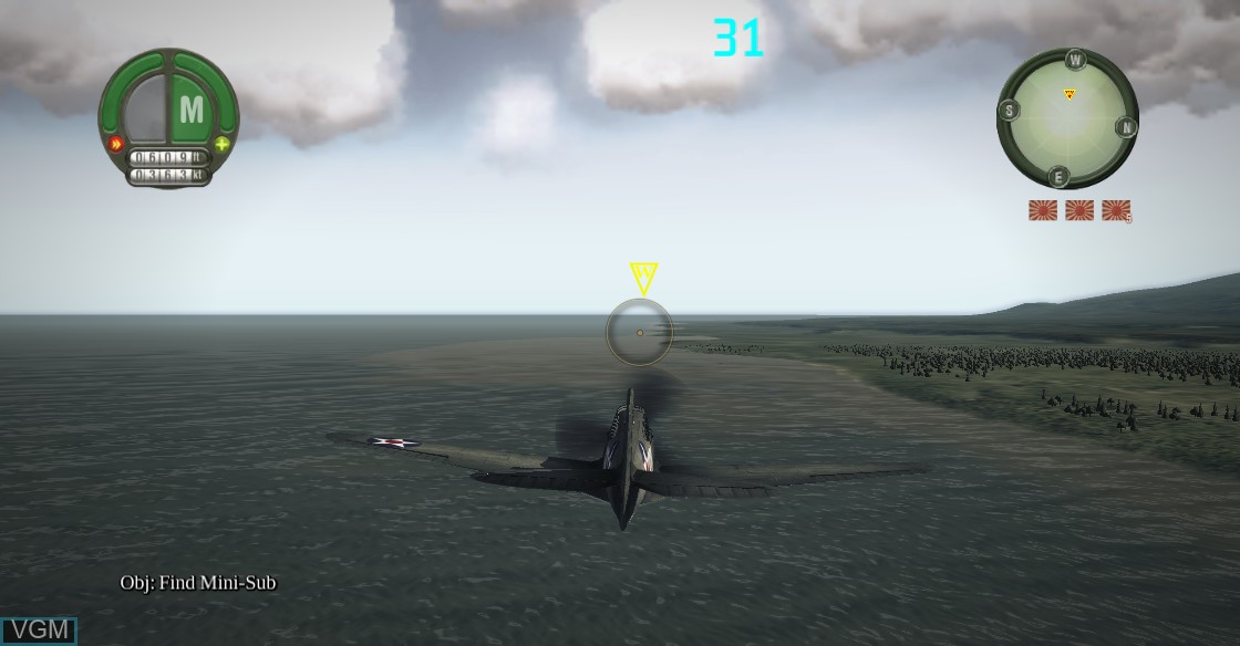 In-game screen of the game Damage Inc. - Pacific Squadron WWII on Microsoft Xbox 360