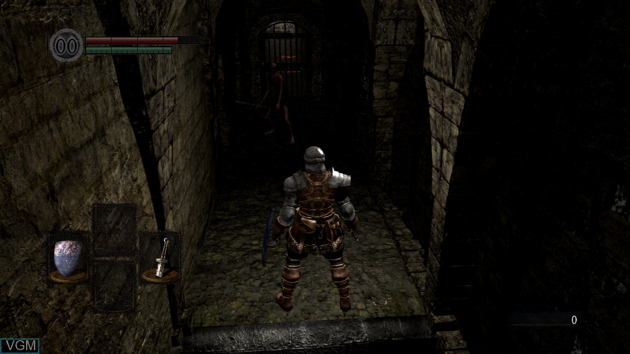In-game screen of the game Dark Souls on Microsoft Xbox 360