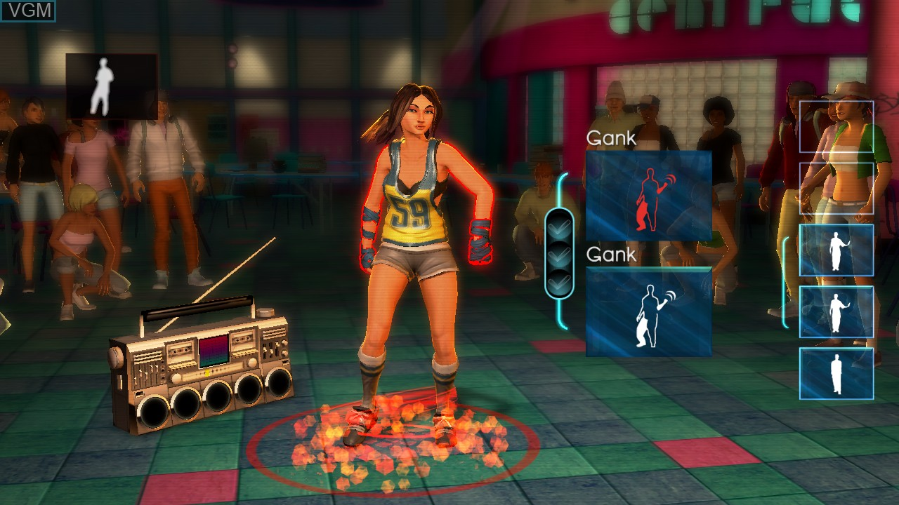 In-game screen of the game Dance Central on Microsoft Xbox 360
