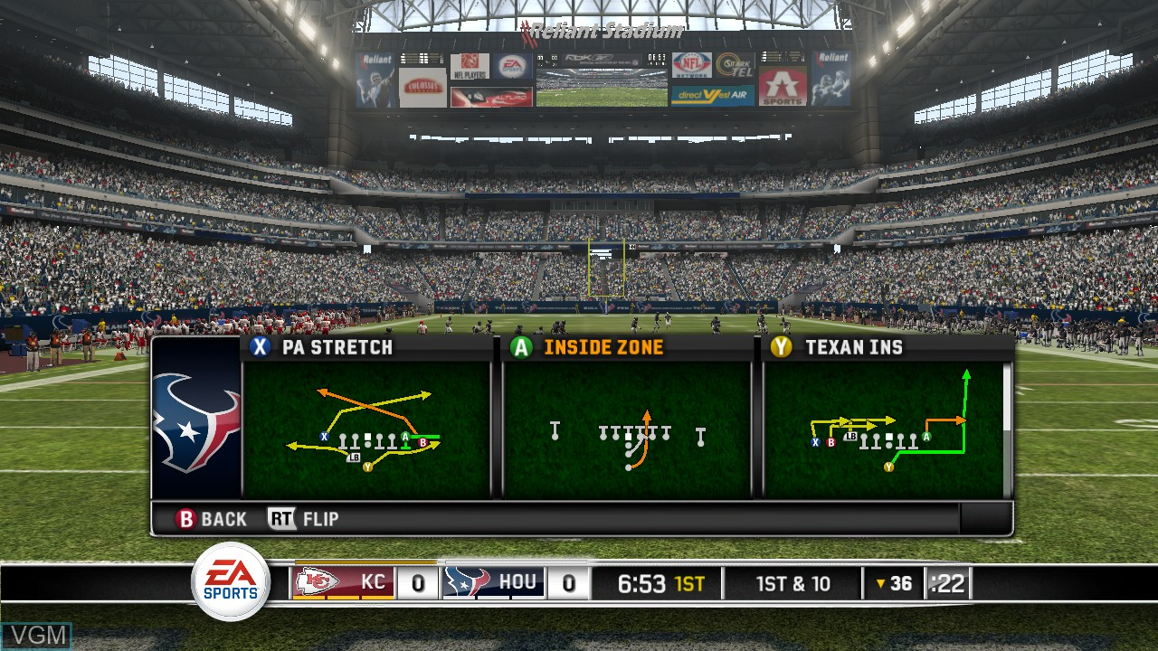 In-game screen of the game Madden NFL 10 on Microsoft Xbox 360