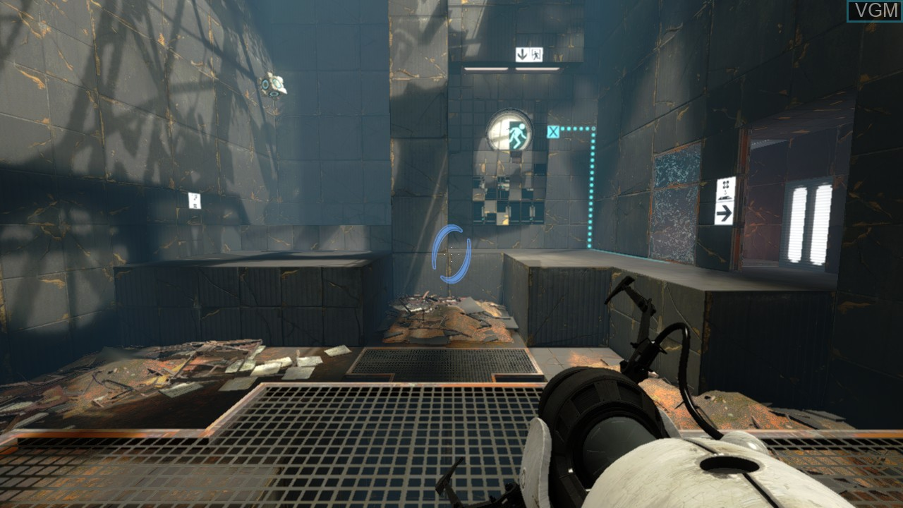 In-game screen of the game Portal 2 on Microsoft Xbox 360