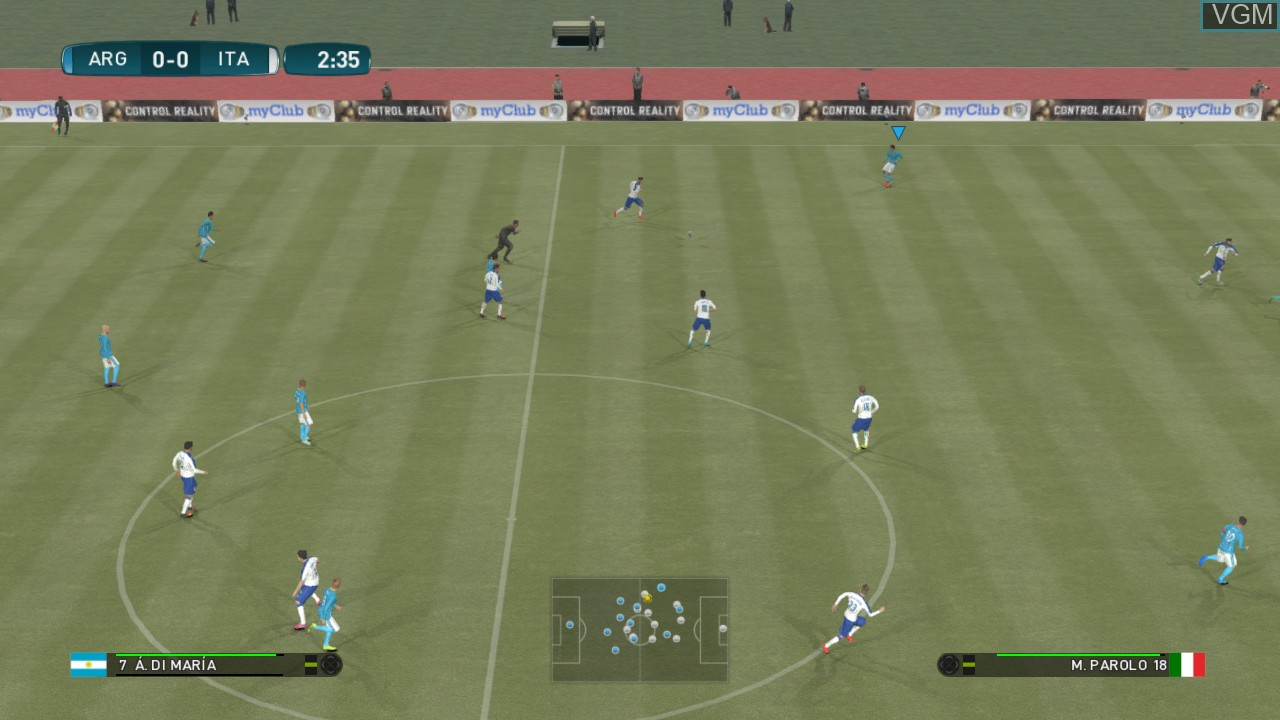 In-game screen of the game Pro Evolution Soccer 2017 on Microsoft Xbox 360