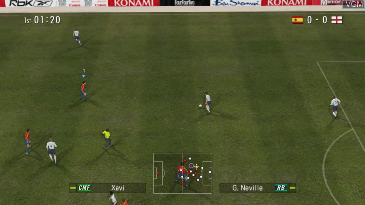 In-game screen of the game Pro Evolution Soccer 6 on Microsoft Xbox 360