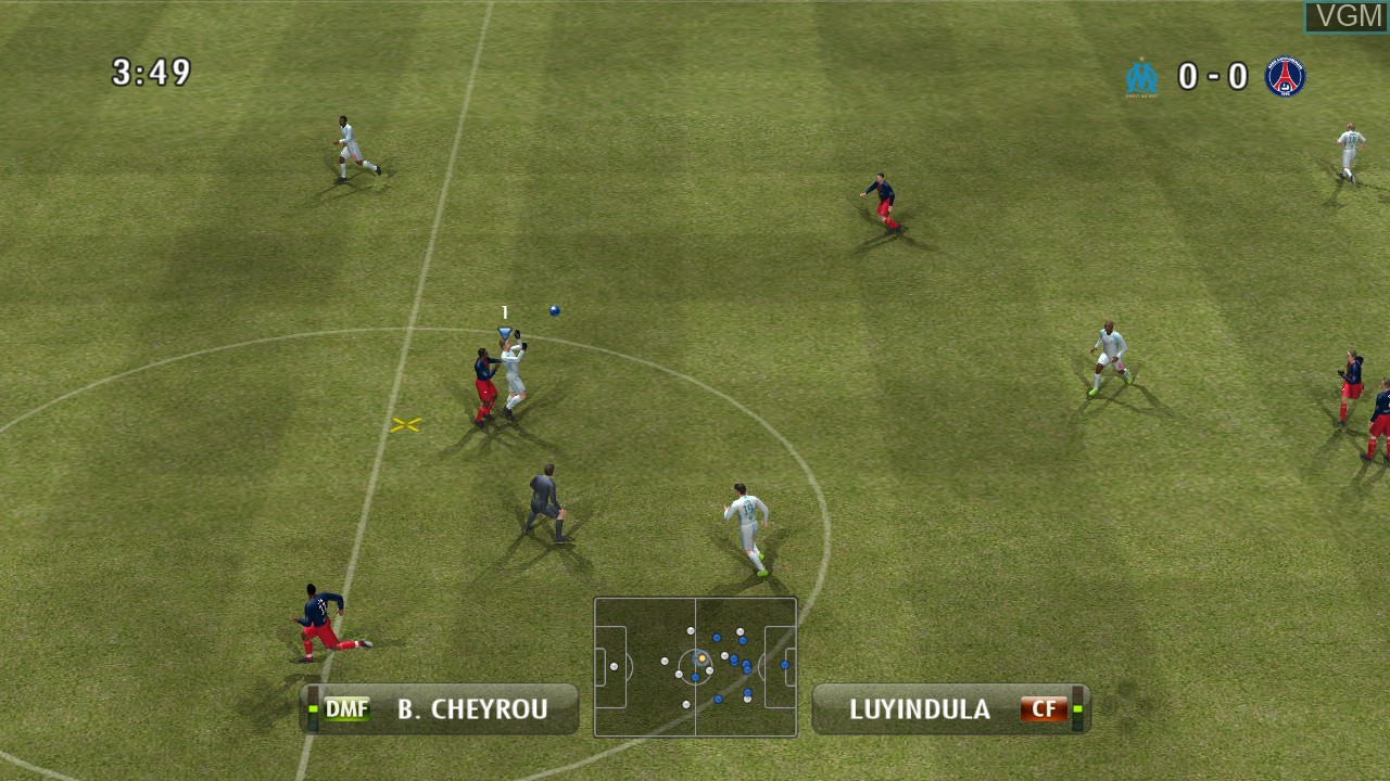 In-game screen of the game Pro Evolution Soccer 2008 on Microsoft Xbox 360