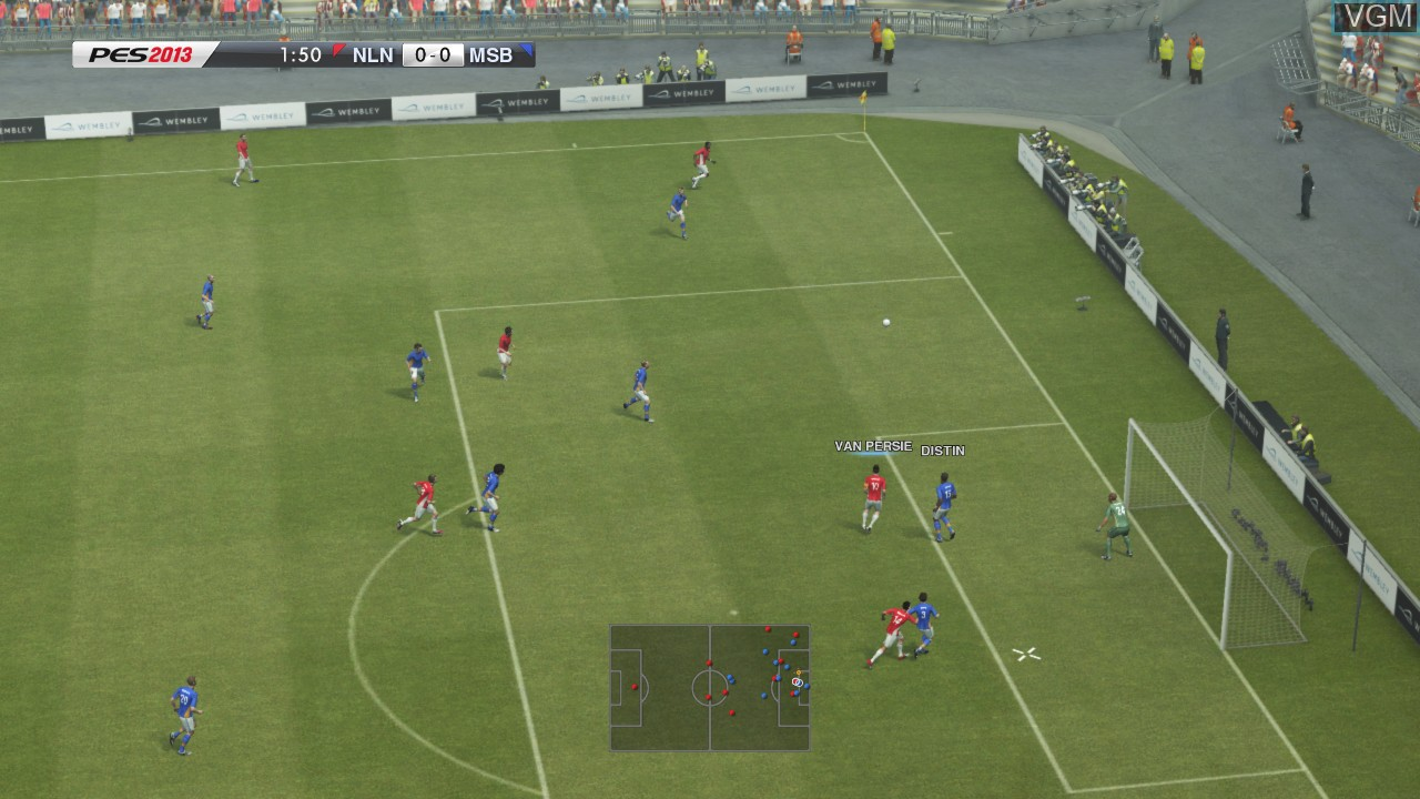 In-game screen of the game Pro Evolution Soccer 2013 on Microsoft Xbox 360