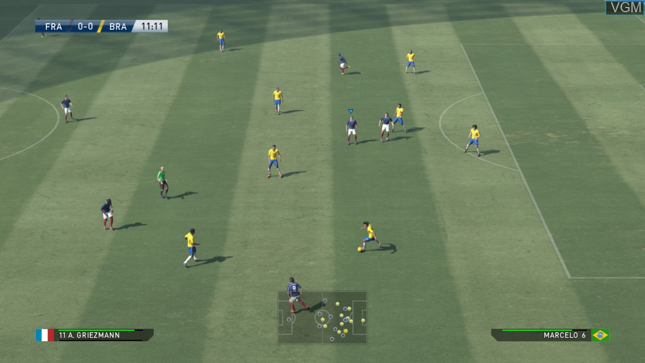 In-game screen of the game Pro Evolution Soccer 2015 on Microsoft Xbox 360
