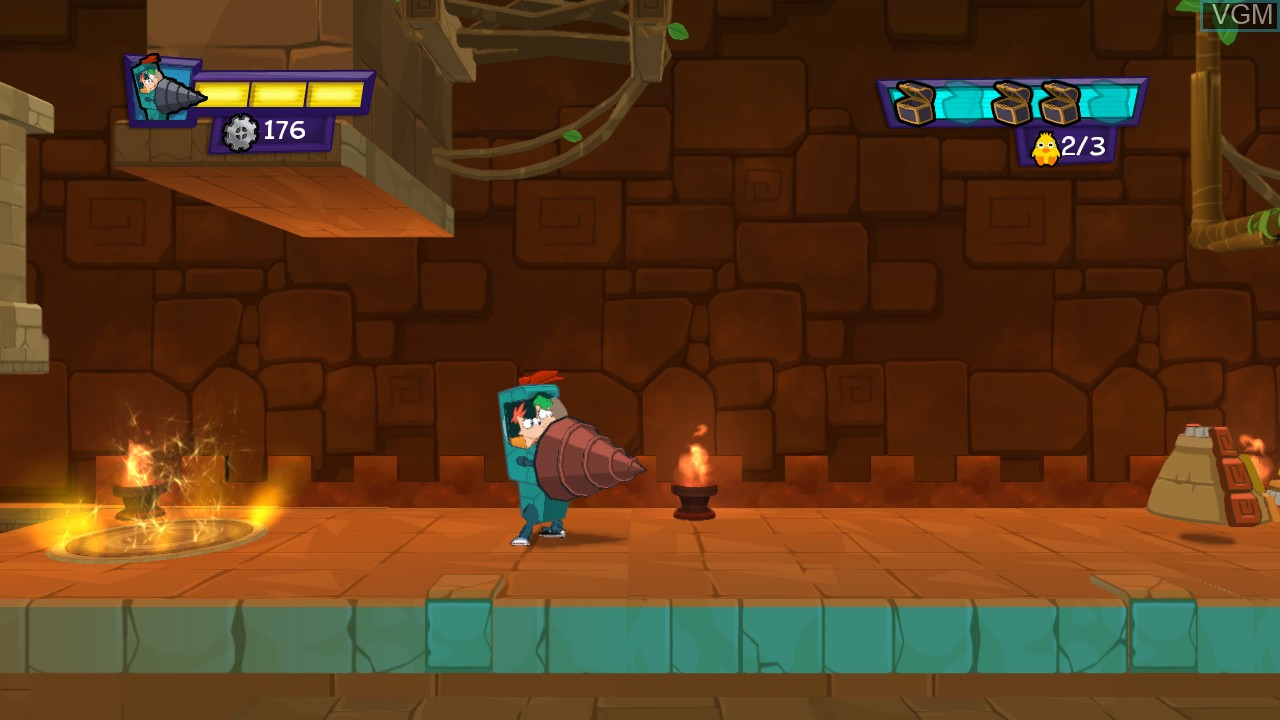 In-game screen of the game Phineas and Ferb - Quest for Cool Stuff on Microsoft Xbox 360