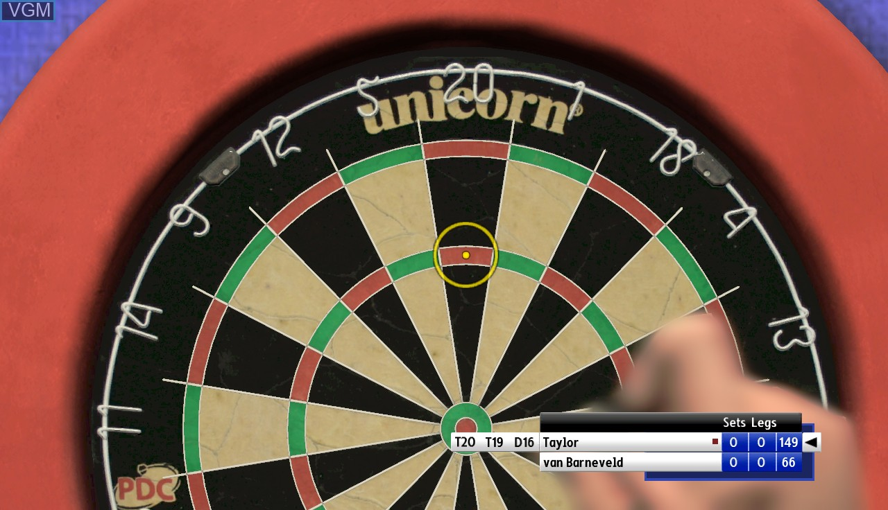 In-game screen of the game PDC World Championship Darts - Pro Tour on Microsoft Xbox 360