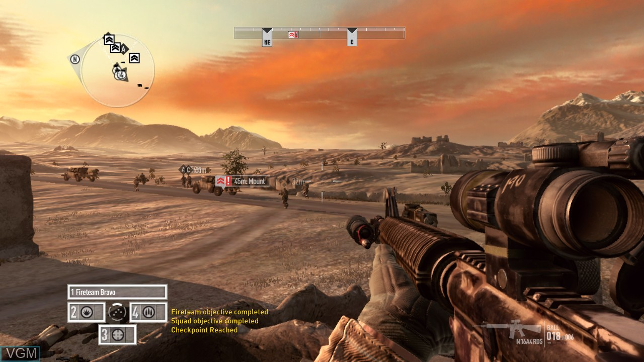In-game screen of the game Operation Flashpoint - Red River on Microsoft Xbox 360