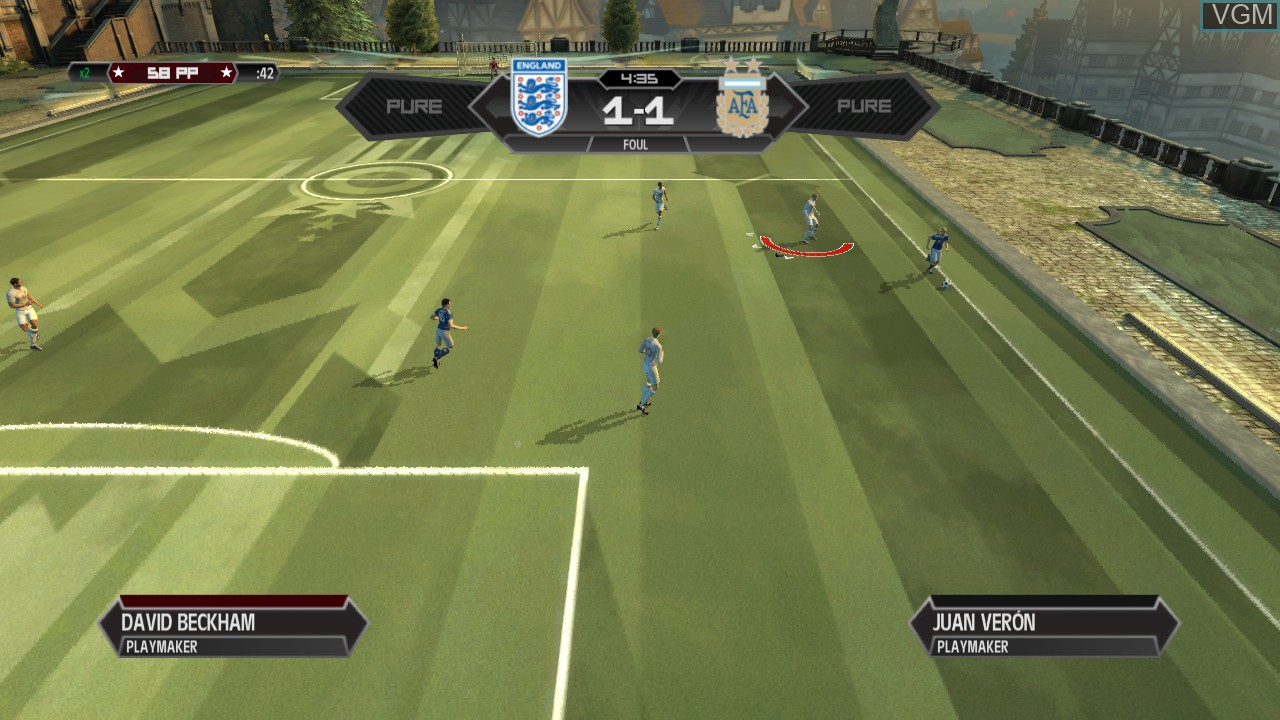 In-game screen of the game Pure Football on Microsoft Xbox 360