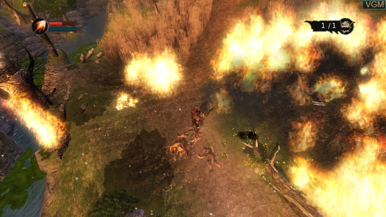 In-game screen of the game Overlord on Microsoft Xbox 360