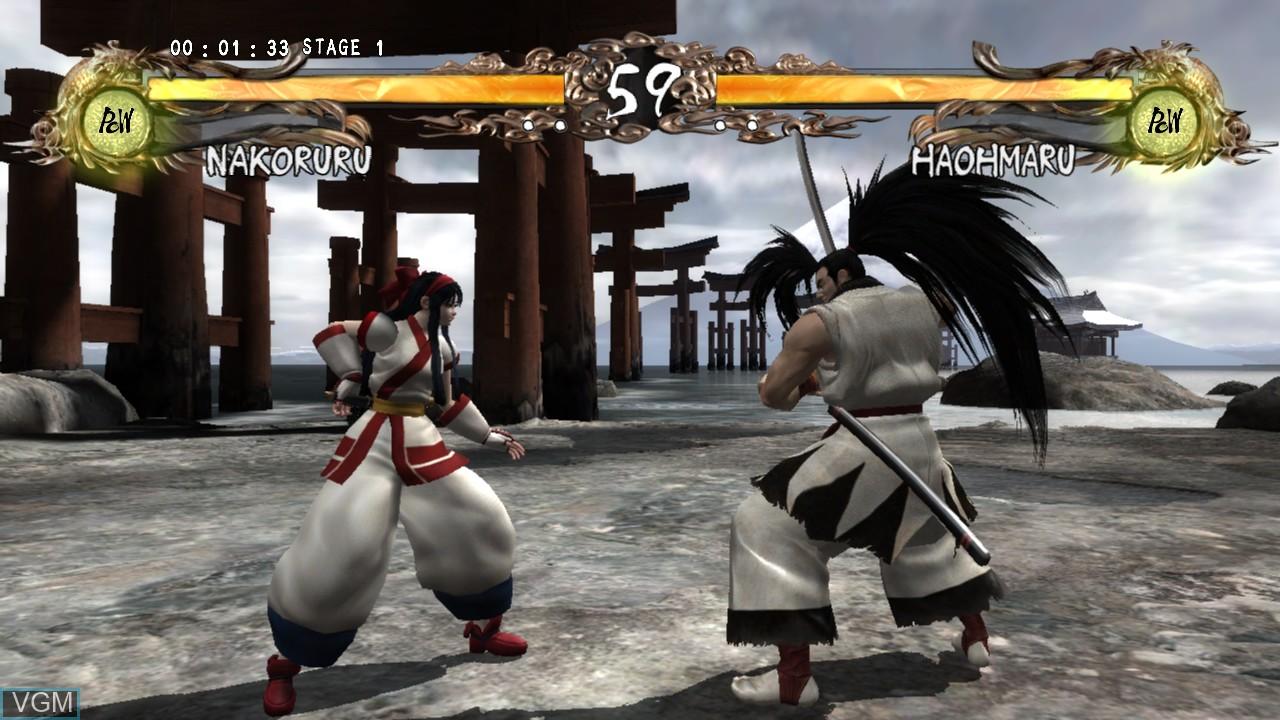 In-game screen of the game Samurai Shodown Sen on Microsoft Xbox 360