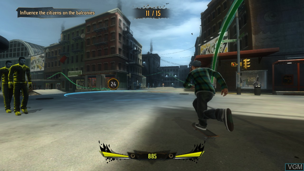 In-game screen of the game Shaun White Skateboarding on Microsoft Xbox 360