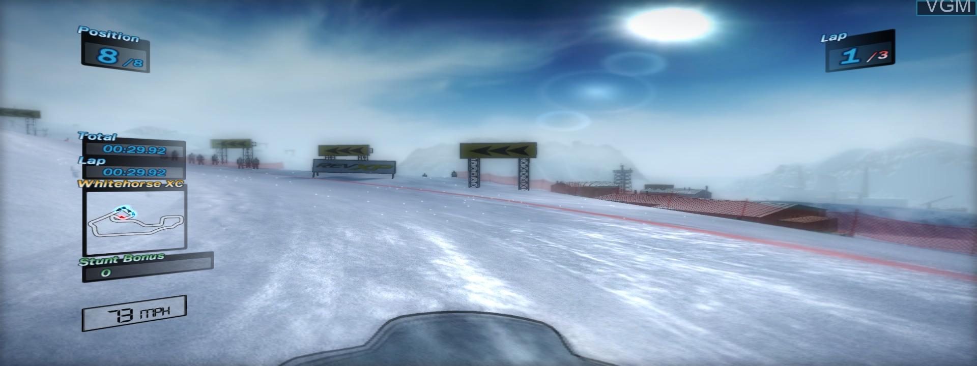 In-game screen of the game Ski Doo - Snowmobile Challenge on Microsoft Xbox 360