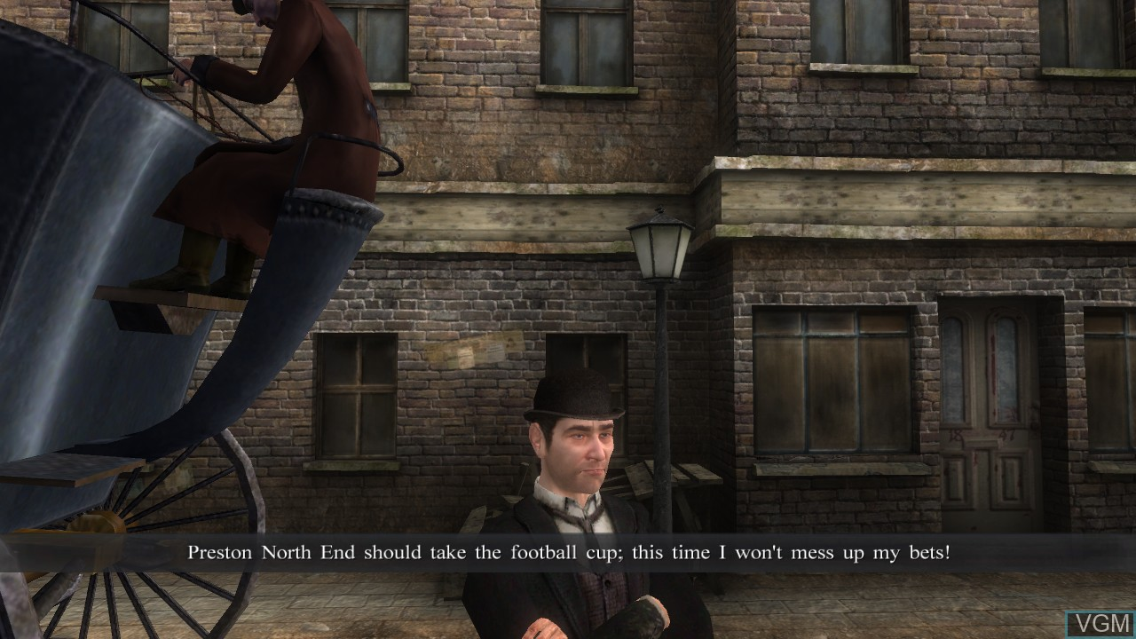 In-game screen of the game Sherlock Holmes vs. Jack the Ripper on Microsoft Xbox 360